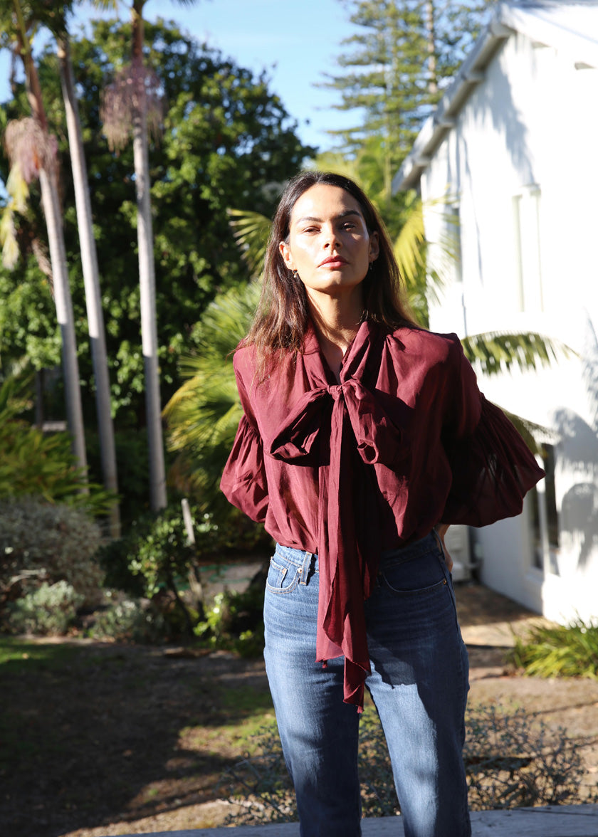 Bow Blouse | Liberty | Plum