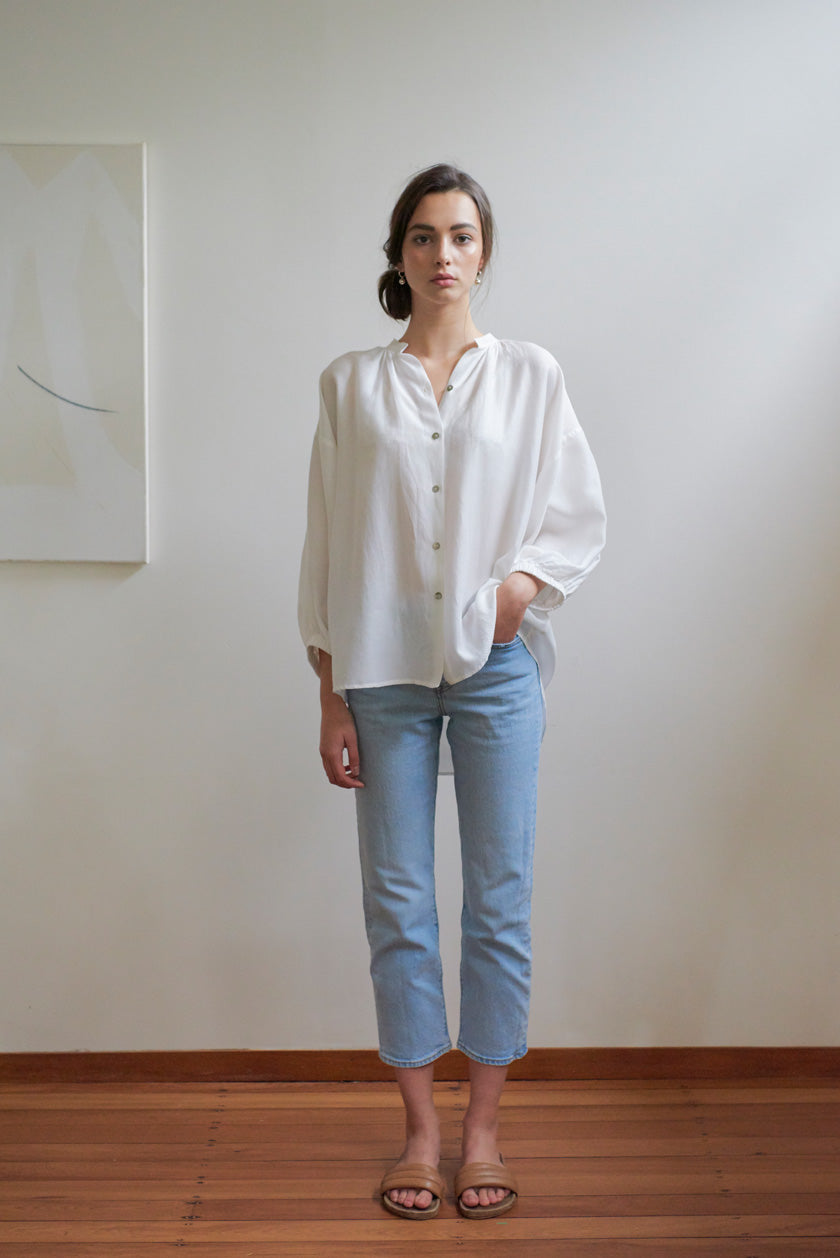 Everyday Blouse | Silk Dot | Ivory