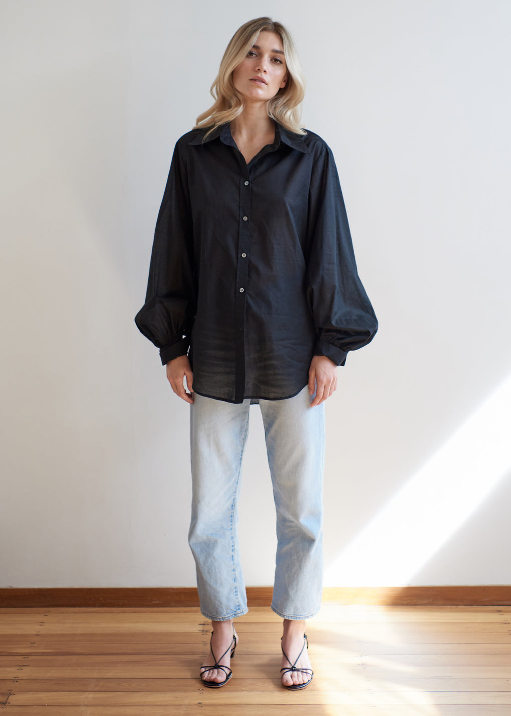 Billow Sleeve Shirt | Cotton Voile | Black