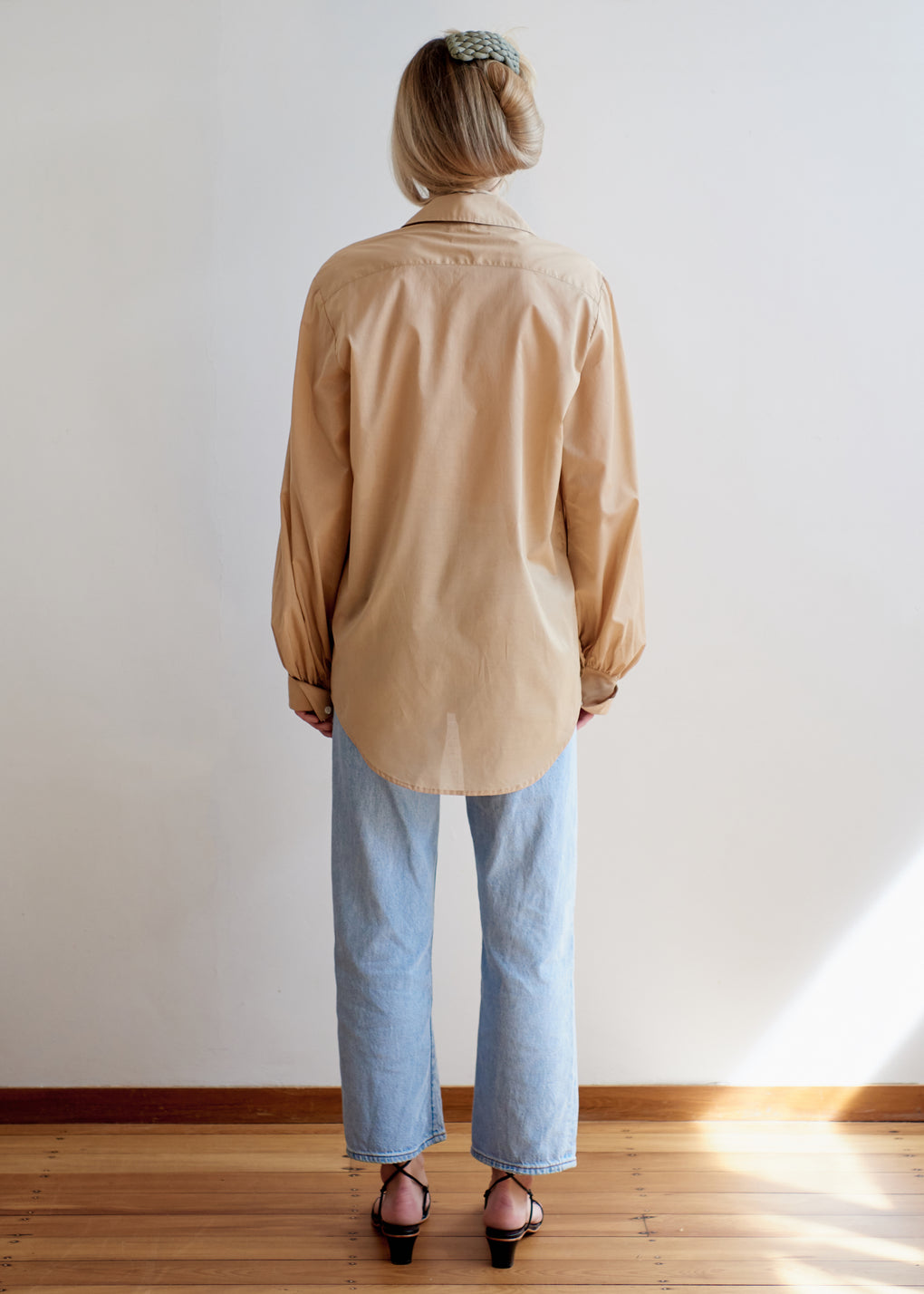 Billow Sleeve Shirt | Cotton Voile | Camel