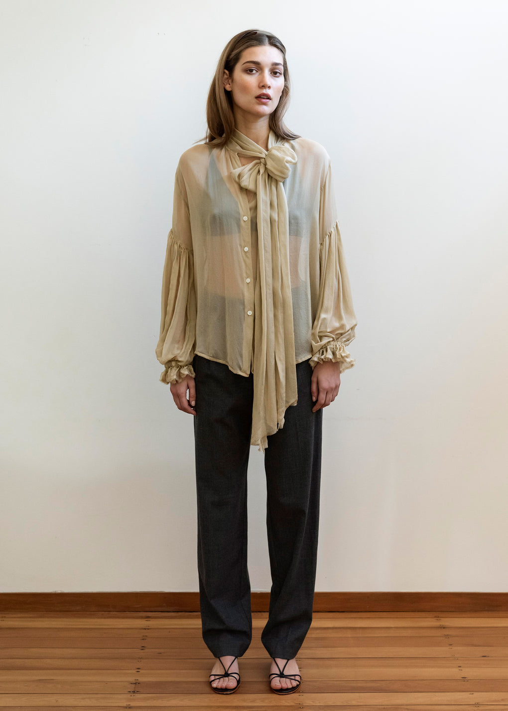 Bow Blouse | Silk Voile | Sand