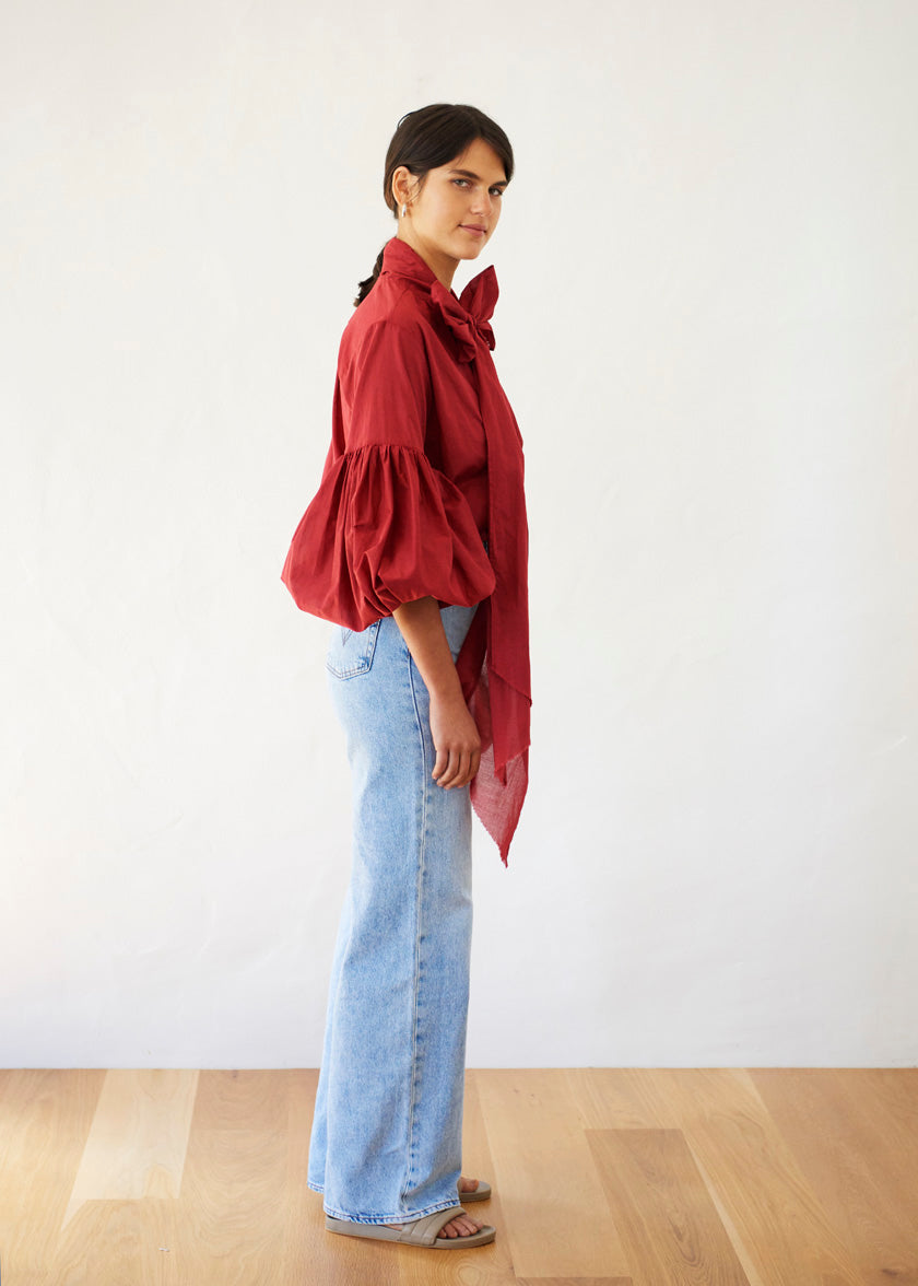 Bow Blouse - Cotton Voile | Sangria