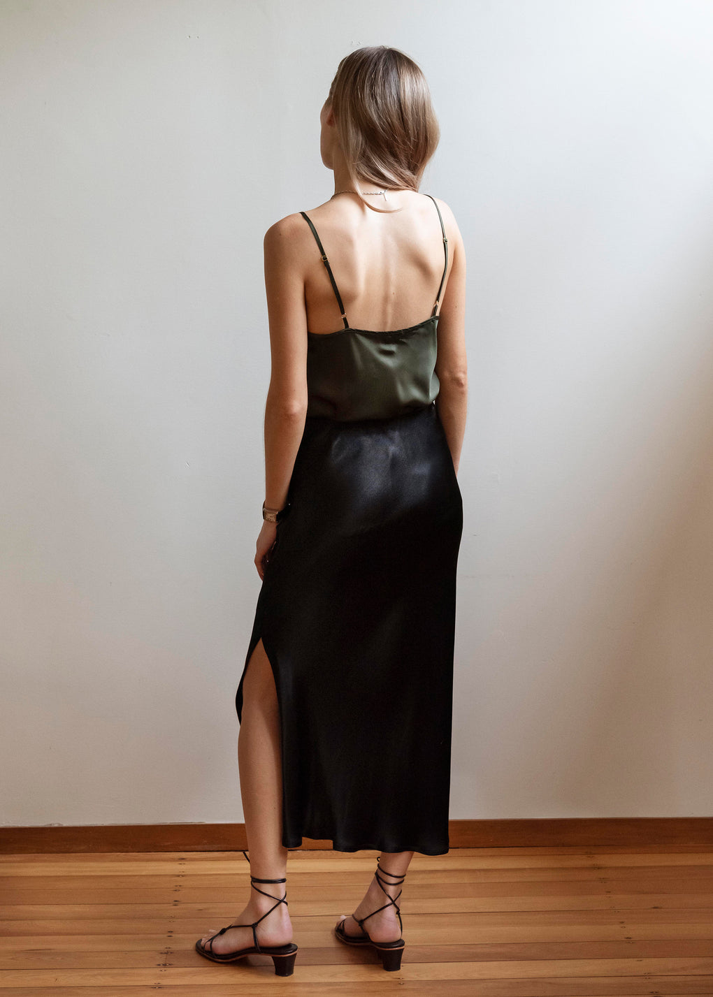 Bias Slip Skirt | Viscose Satin | Black