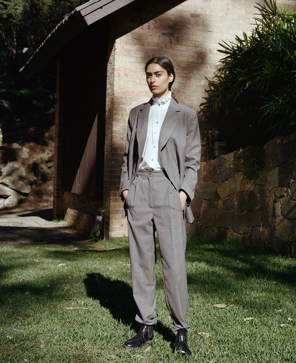 New Gentleman Trouser | Plaid Suiting | Silver Grey