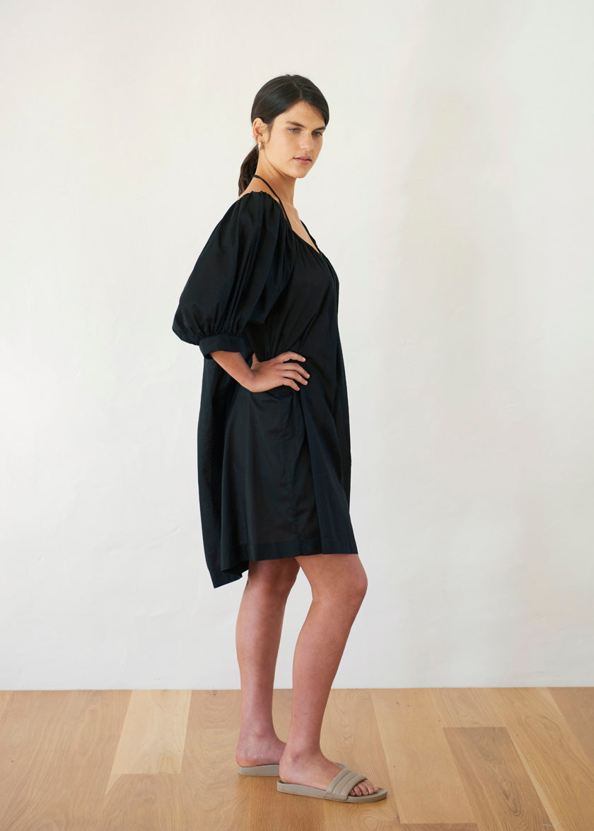 Late Bloomer Mini Dress - Cotton Voile | Black