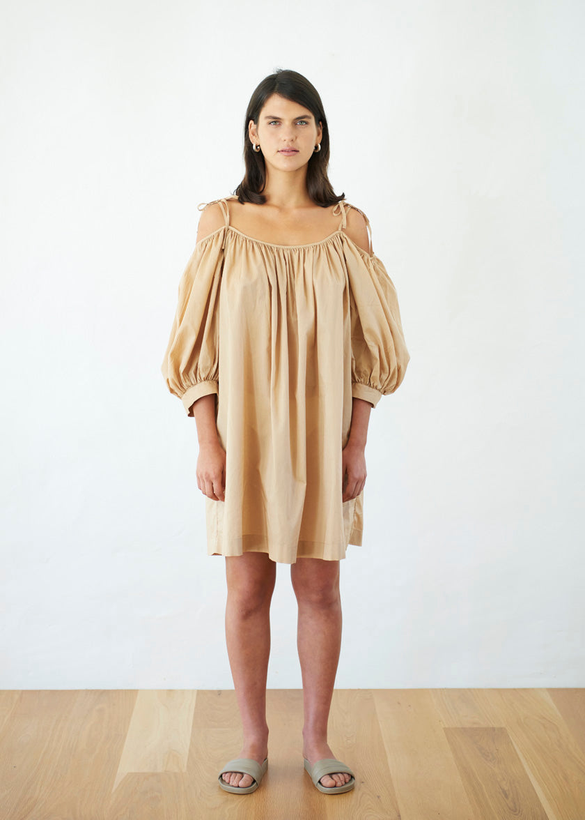 Late Bloomer Mini Dress - Cotton Voile | Camel