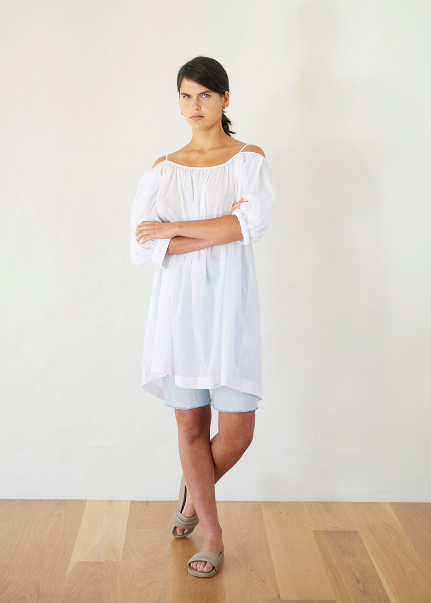 Late Bloomer Mini Dress - Cotton Voile | White
