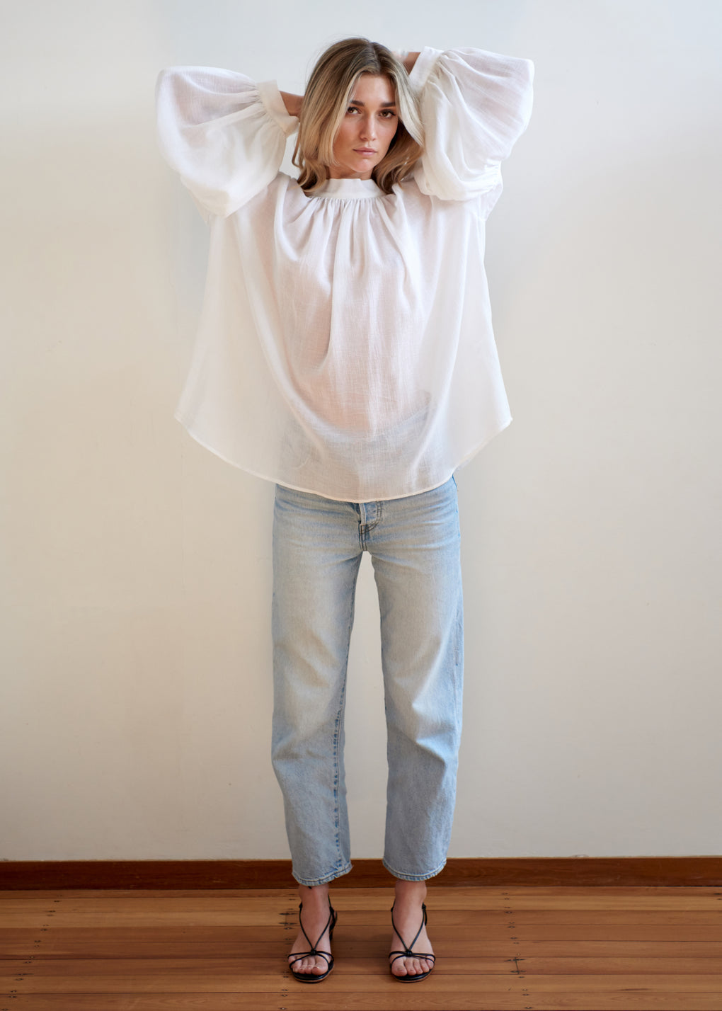 Long Preacher Top | Cotton Muslin | Off White