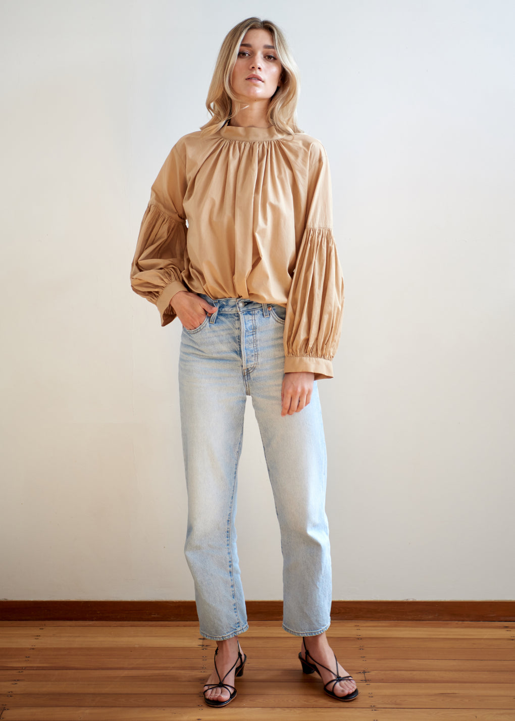 Long Preacher Top | Cotton Voile | Camel