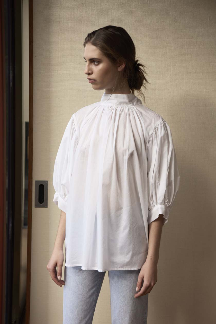 Roll Your Sleeves Up Preacher Top - Cotton Lawn | White