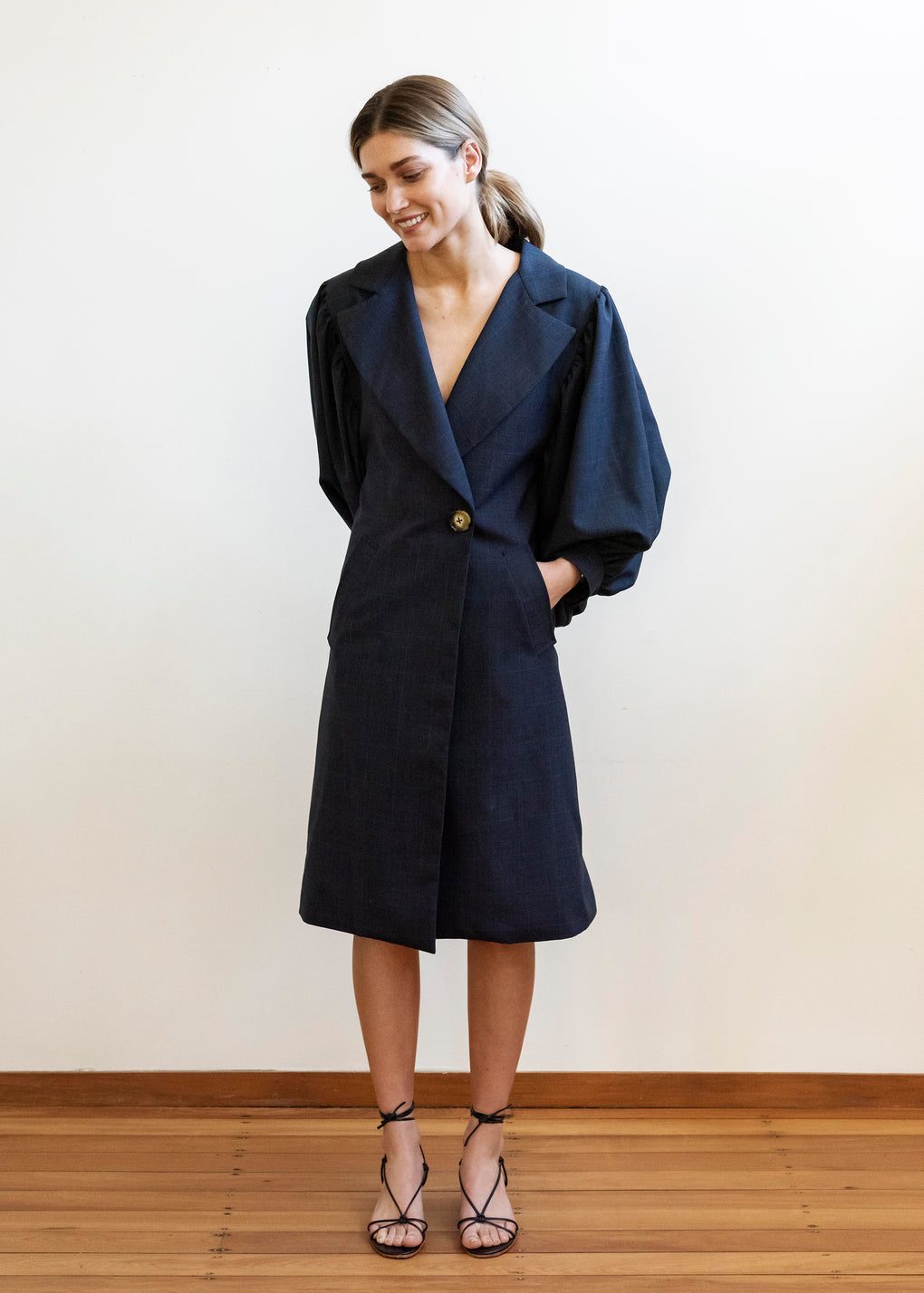 Romantic Trench | Plaid Suiting | Navy