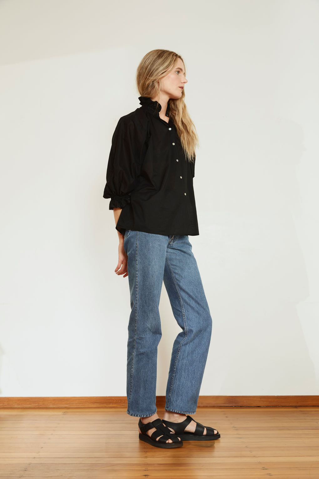 Ruffle Blouse | Cotton Voile | Black