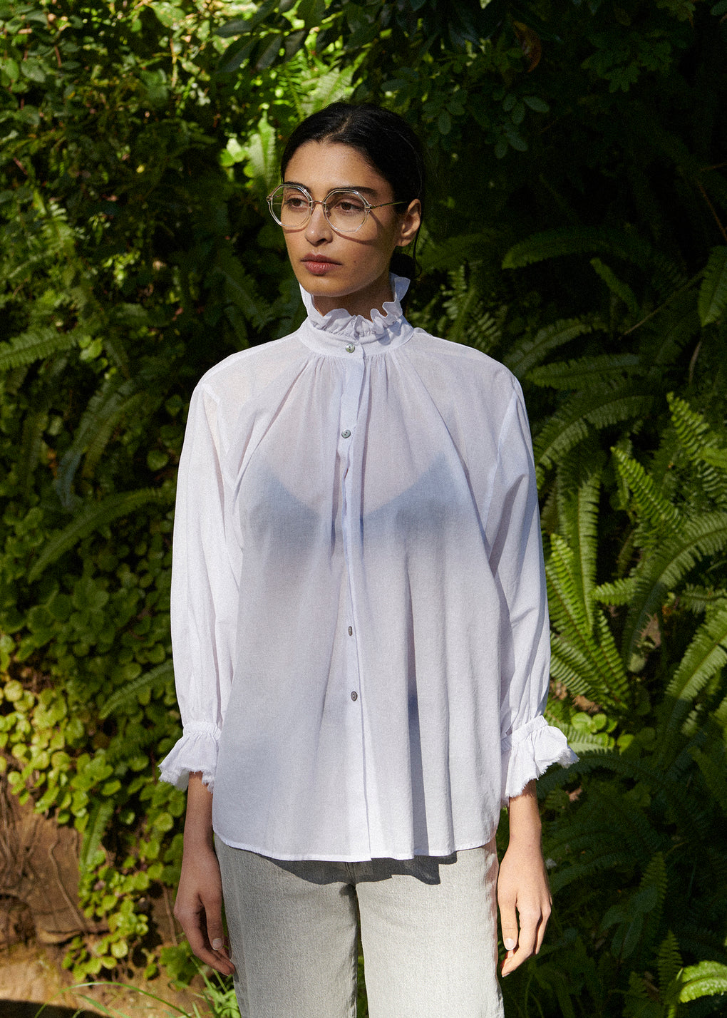 Ruffle Blouse | Cotton Voile | White