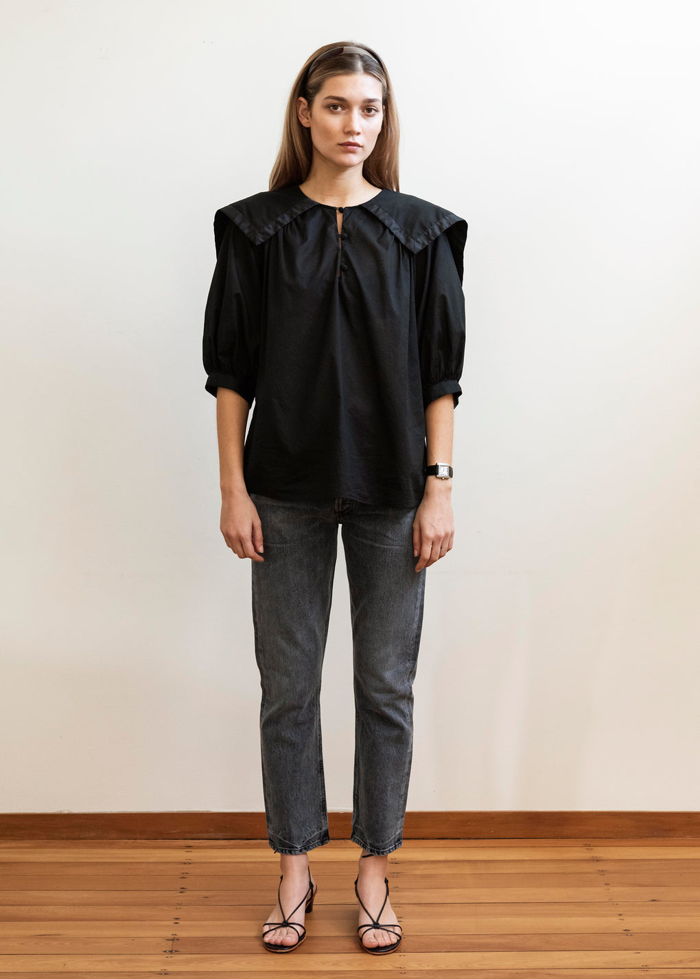 Sailor Blouse | Cotton Voile | Black/Black