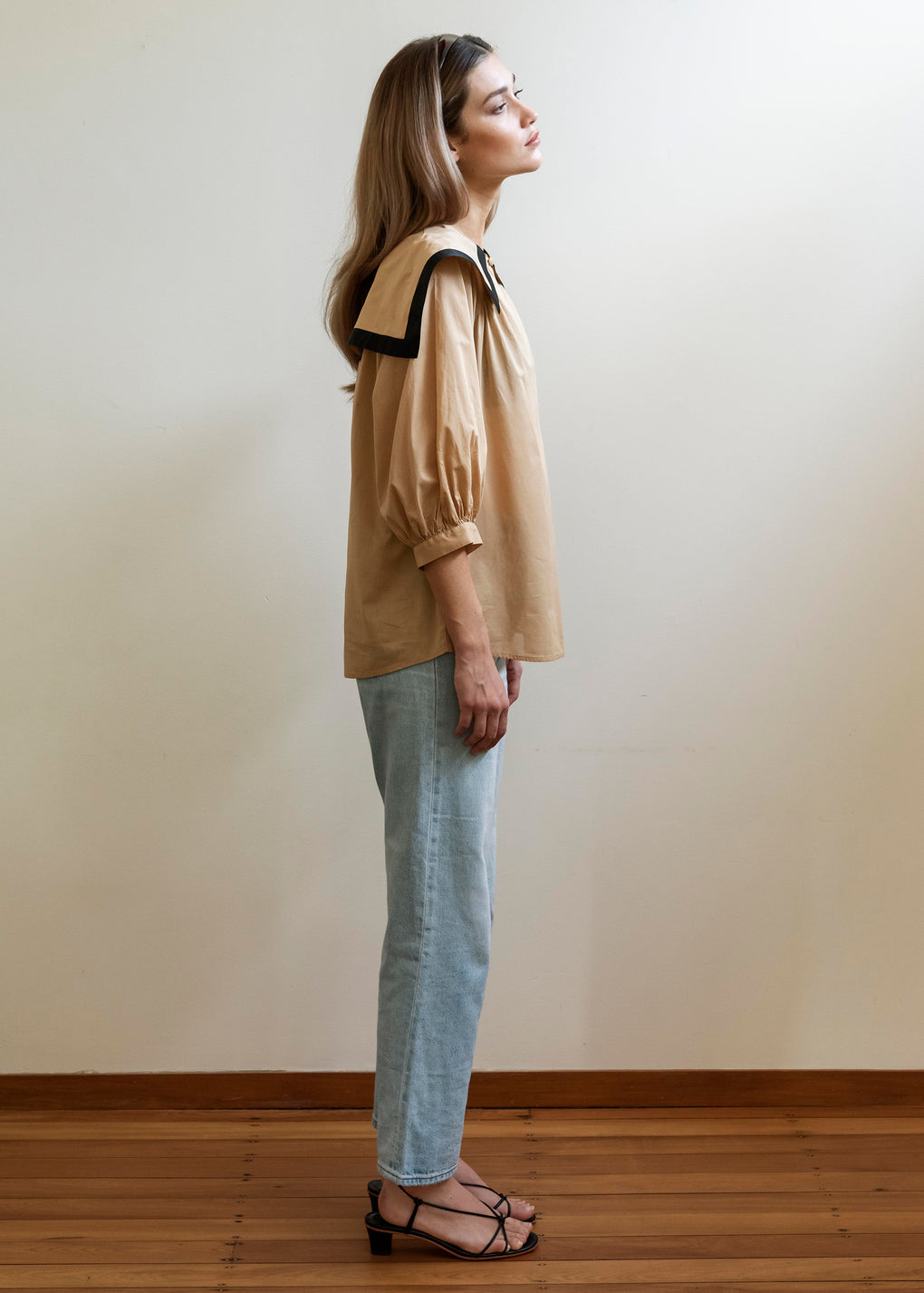 Sailor Blouse | Cotton Voile | Camel/Black