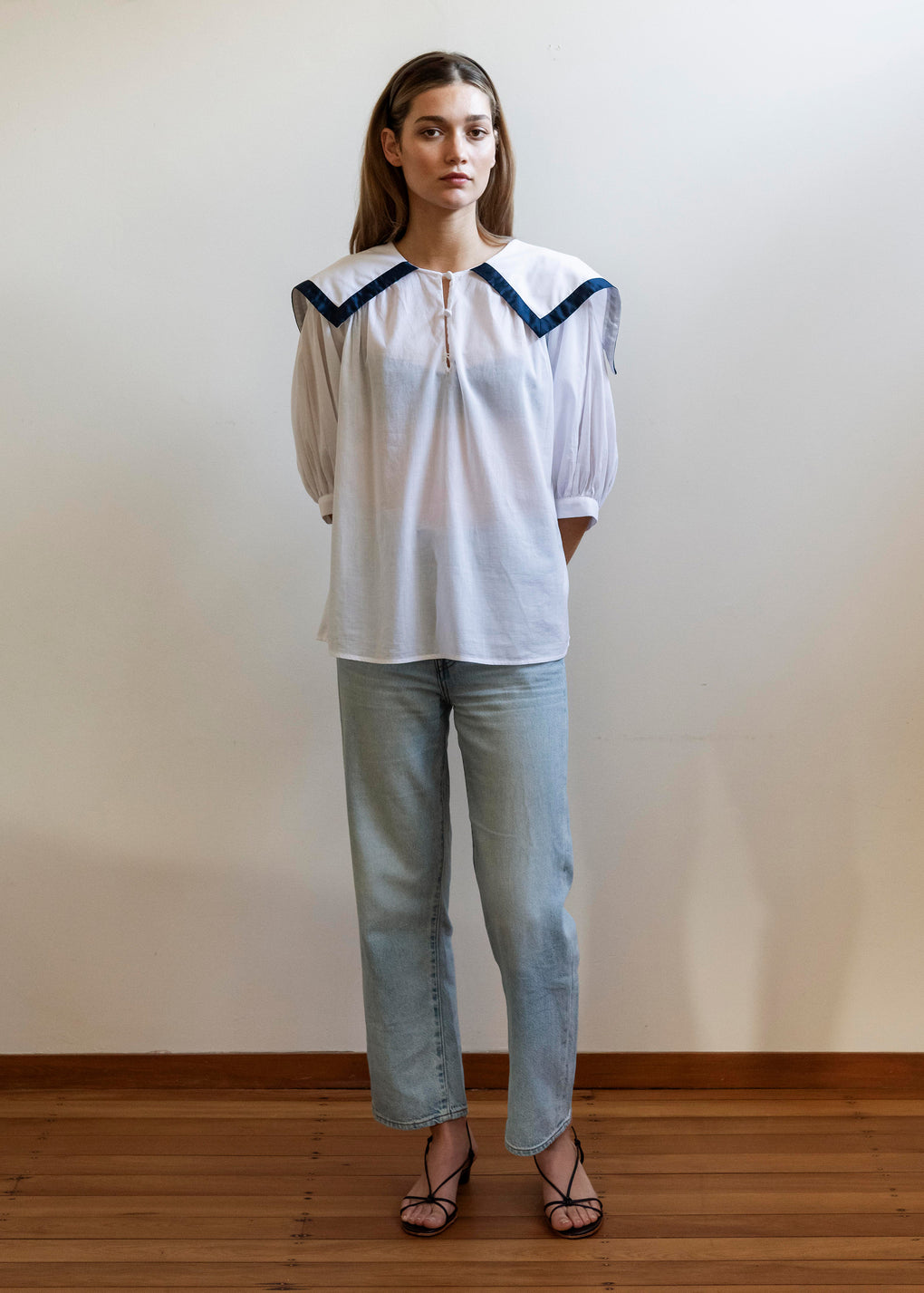 Sailor Blouse | Cotton Voile | White/Navy