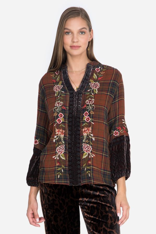 Johnny Was Uccello Velvet Mix Effortless Blouse