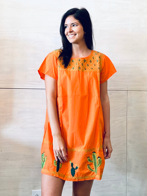 Sister Mary Lupe Orange Embroidery Dress