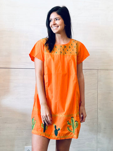 Sister Mary Lupe Orange Embroidered Dress