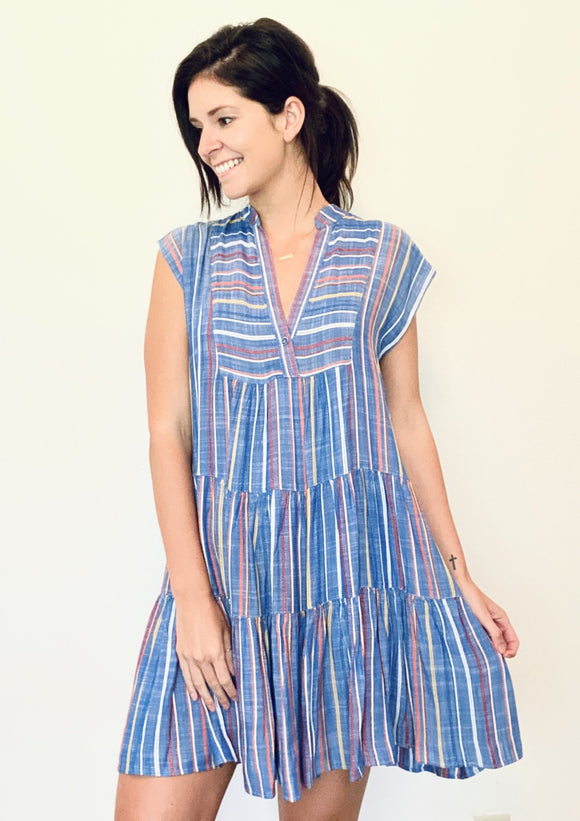 Uncle Frank Tiered Stripes Dress