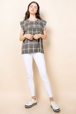 Plaid Print Top with Embroidery