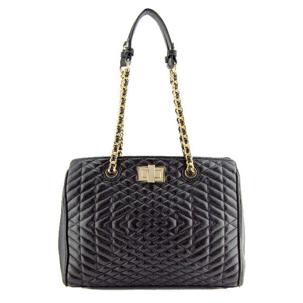 Naomi Quilted Chain Satchel
