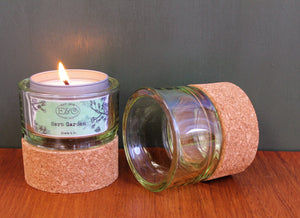 Retro Cork+Clear Glass Tea Light Holder