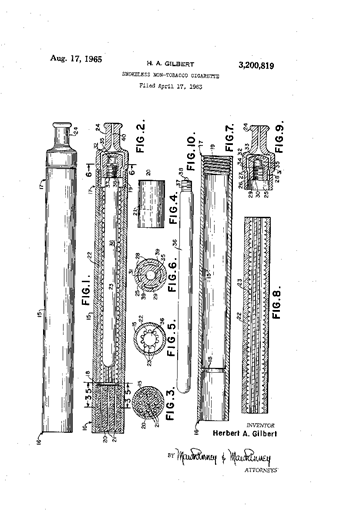 Patent for smokeless non-tobacco cigarette