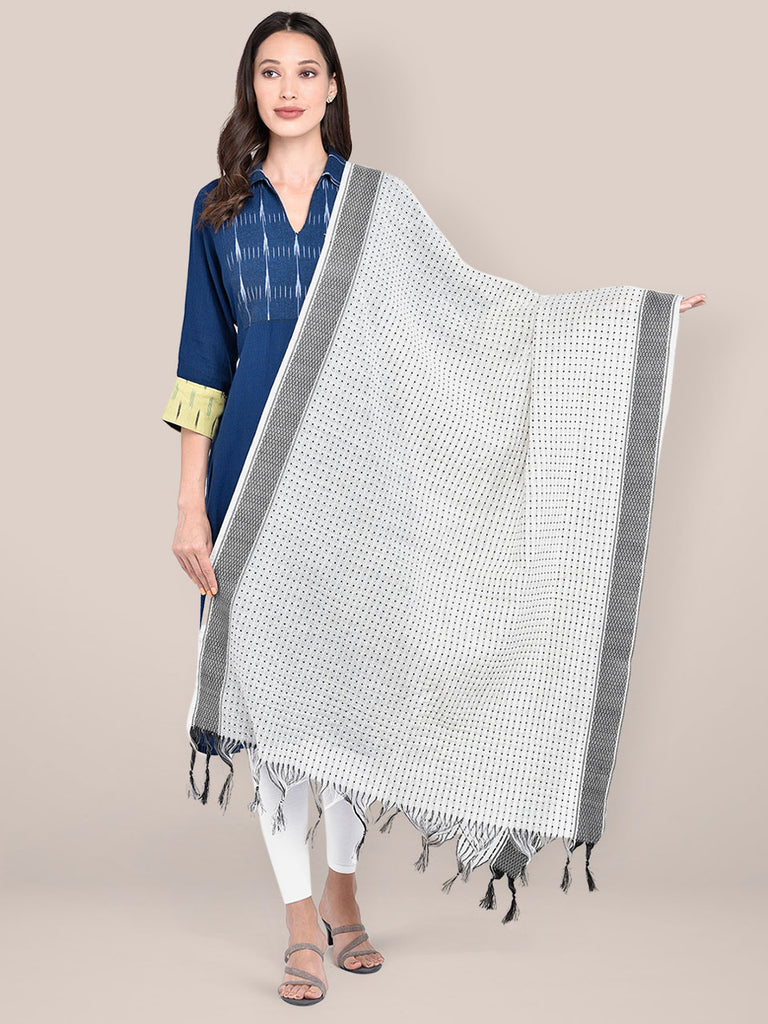Woven White & Black Striped Cotton Chanderi Dupatta