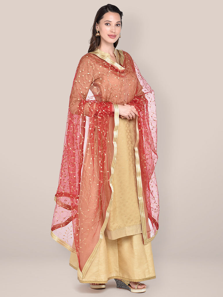 Maroon & Gold Embroidered Net Dupatta