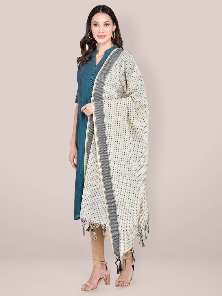 Woven Beige & Black Striped Cotton Chanderi Dupatta