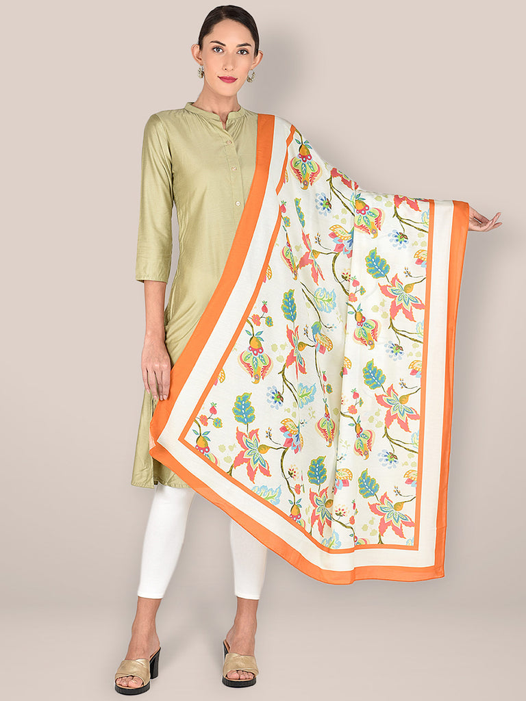 Printed Cream & Multicoloured Silk Dupatta
