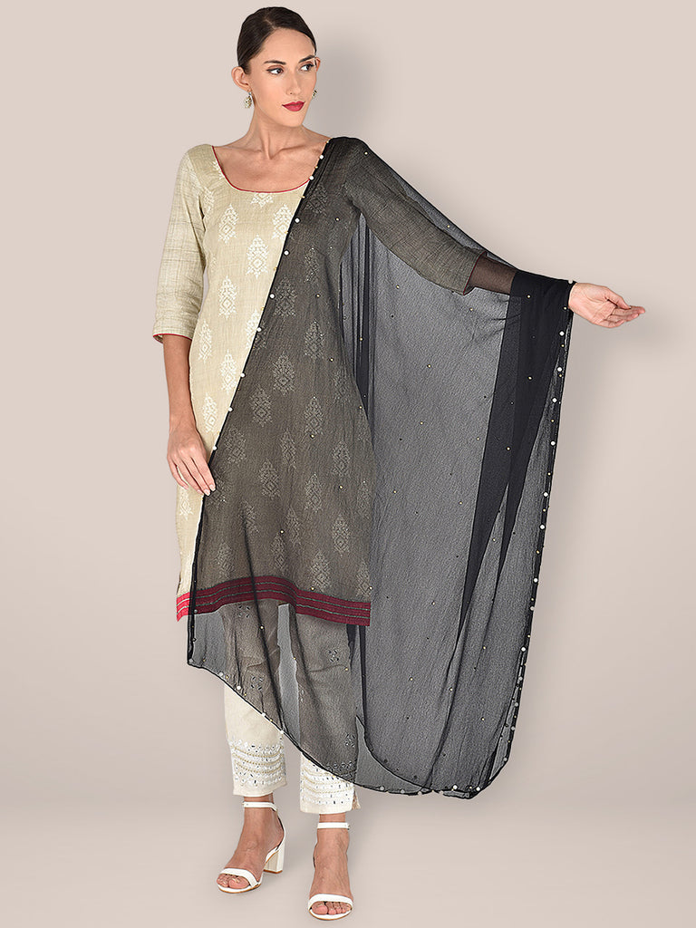 Black Chiffon Dupatta with Pearls & Beads