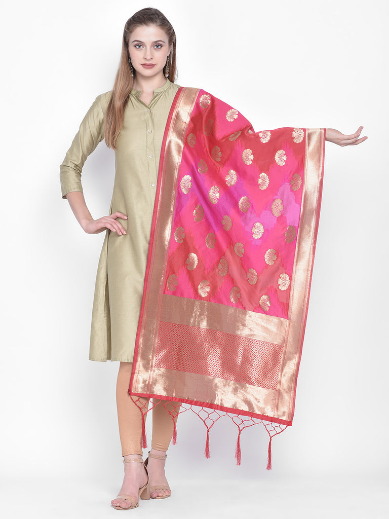 Dupatta Bazaar Woman's Pink & Red Shaded Banarasi Silk Dupatta - Dupatta Bazaar