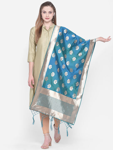 Dupatta Bazaar Woman's Blue & Gold Shaded Banarasi Silk Dupatta