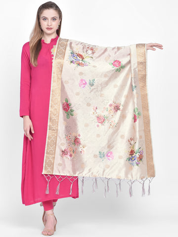 Dupatta Bazaar Woman's Cream Banarasi Dupatta with Digital Print. - Dupatta Bazaar
