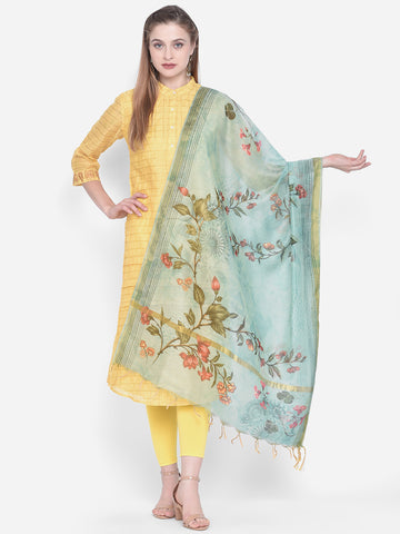 Dupatta Bazaar Woman's Sea Green Cotton Silk Digitally Printed Dupatta - Dupatta Bazaar