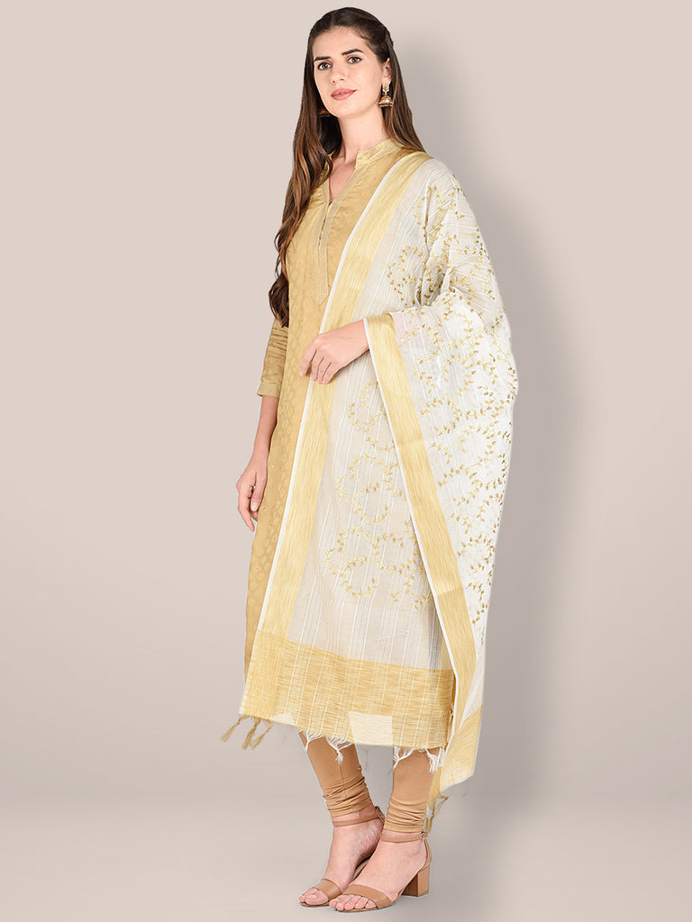 Embroidered White Blended Silk Dupatta.