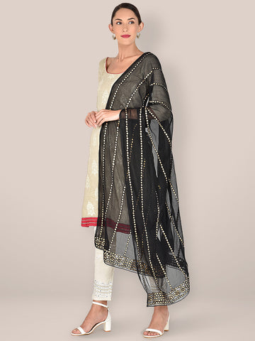 Black Chiffon Dupatta with Gotta Patti Work.