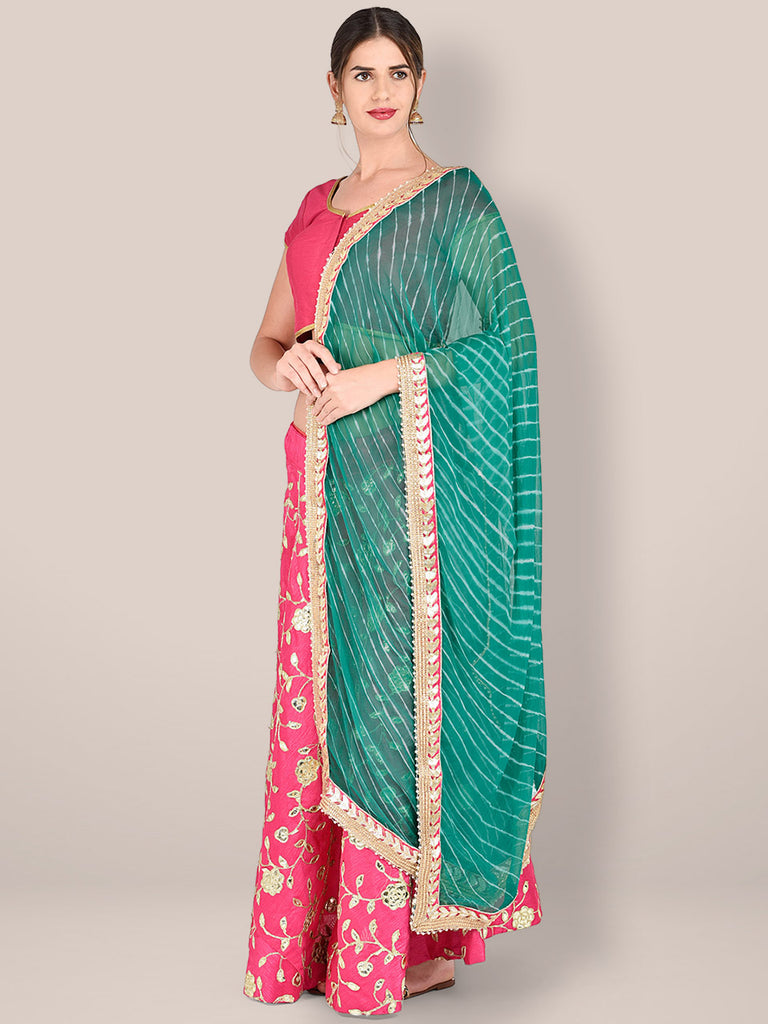 Green Leharia Chiffon Dupatta with Gotta Patti Border