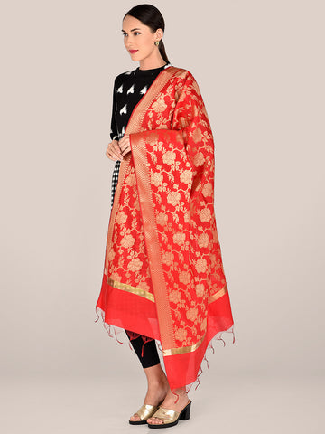 Banarasi Red Silk Dupatta with Floral Jaal