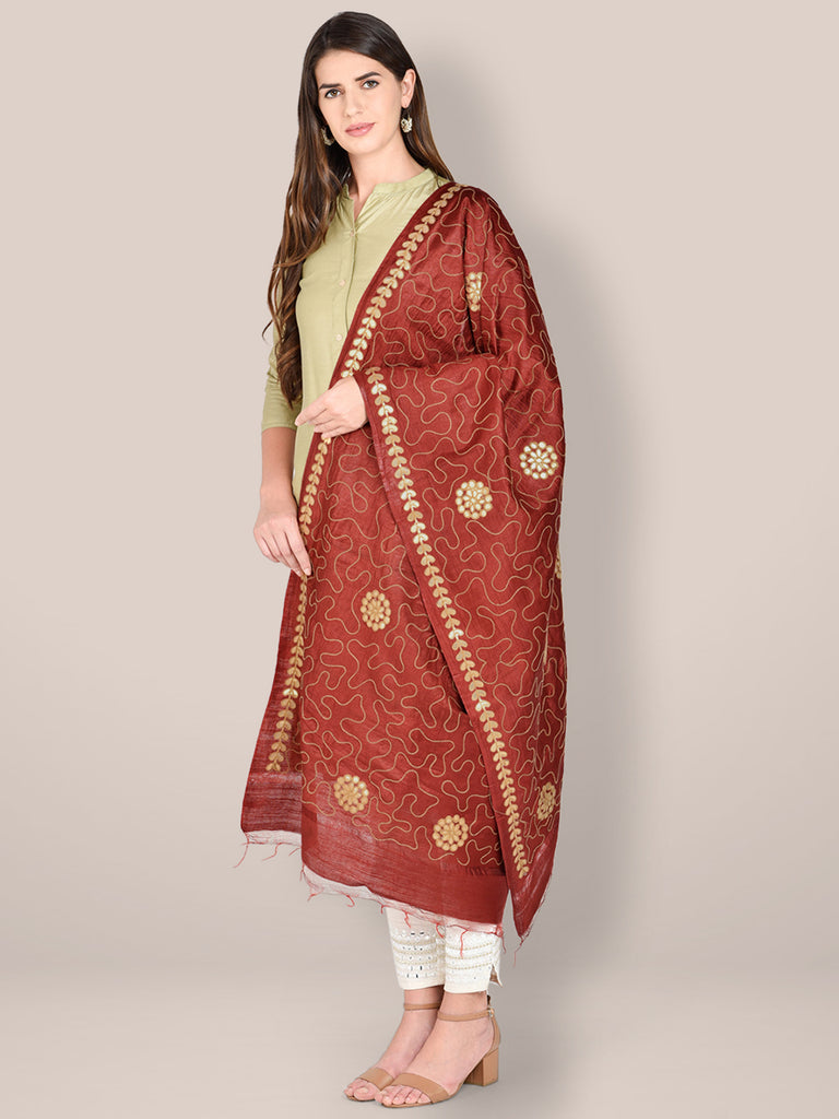 Embroidered Maroon Blended Silk Dupatta