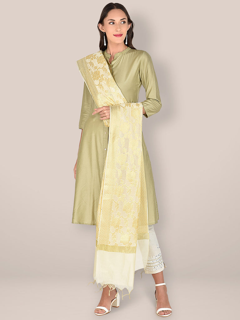 Banarasi Off White Silk Dupatta with Floral Jaal