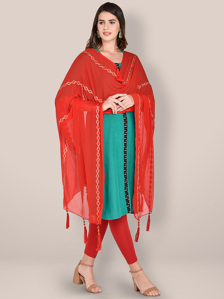 Embroidered Red Chiffon Dupatta.