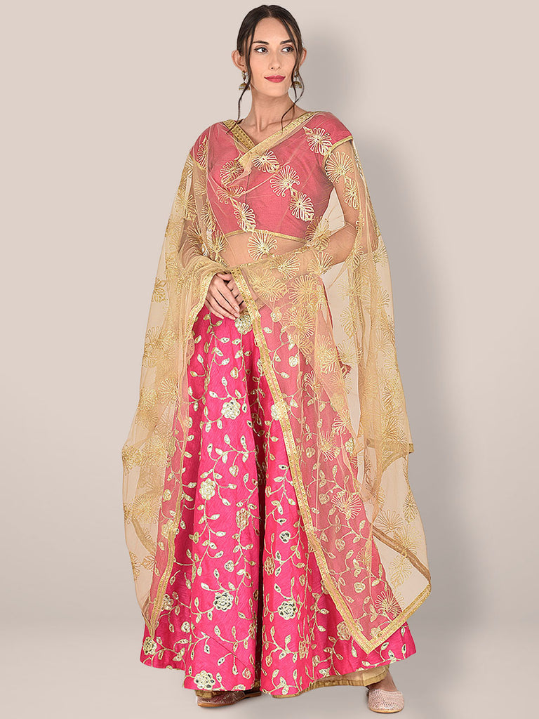 Embellished Gold Net Dupatta with ethnic Zari Motifs