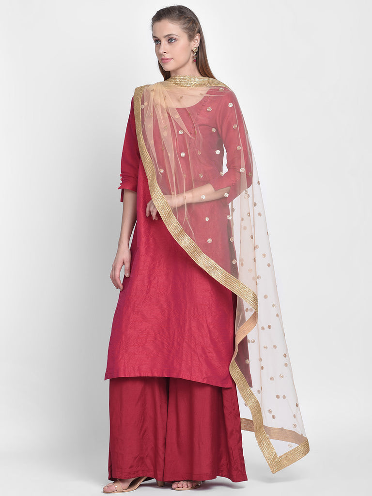 Dupatta Bazaar Woman's Gold Net Dupatta with Embroidered Motifs. - Dupatta Bazaar