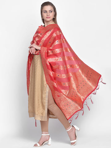 Dupatta Bazaar Woman's Red Banarasi Silk Dupatta with floral design. - Dupatta Bazaar