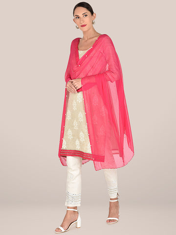 Pink Chiffon Dupatta Embellished with Pearls & Beads