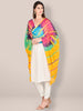 Yellow Multicoloured Blended Silk Dupatta