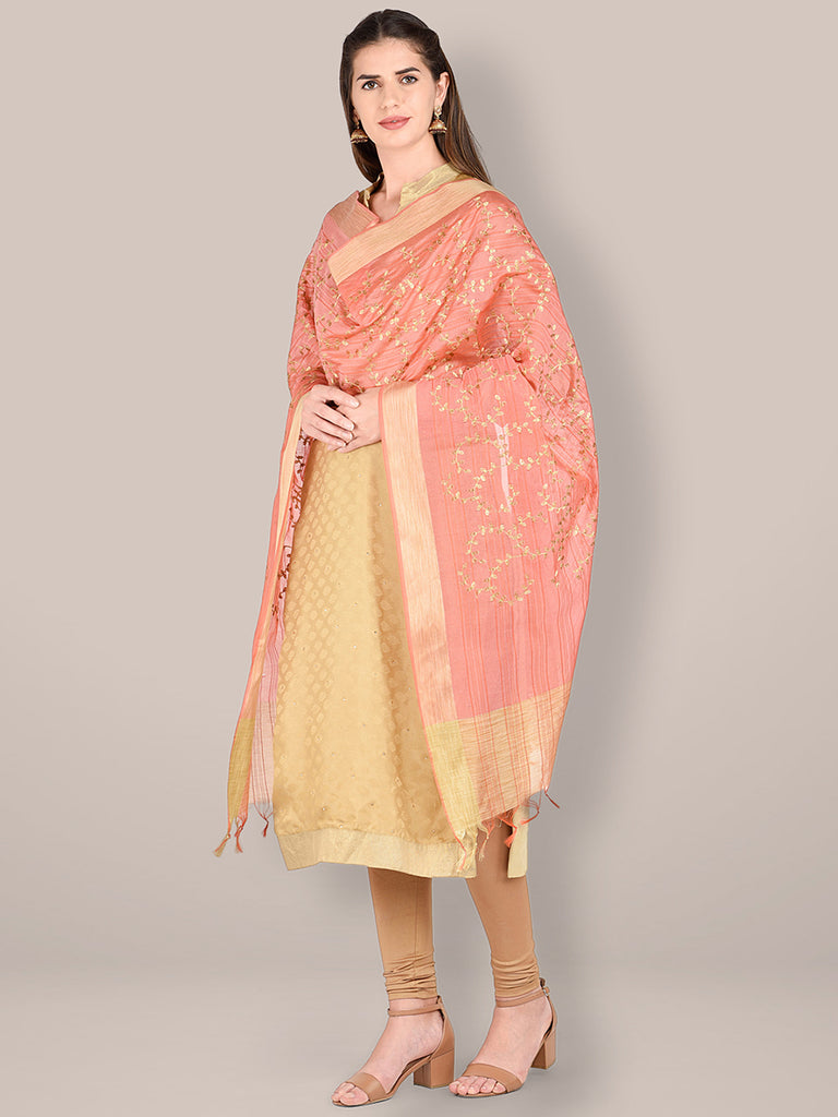 Embroidered Peach Blended Silk Dupatta.